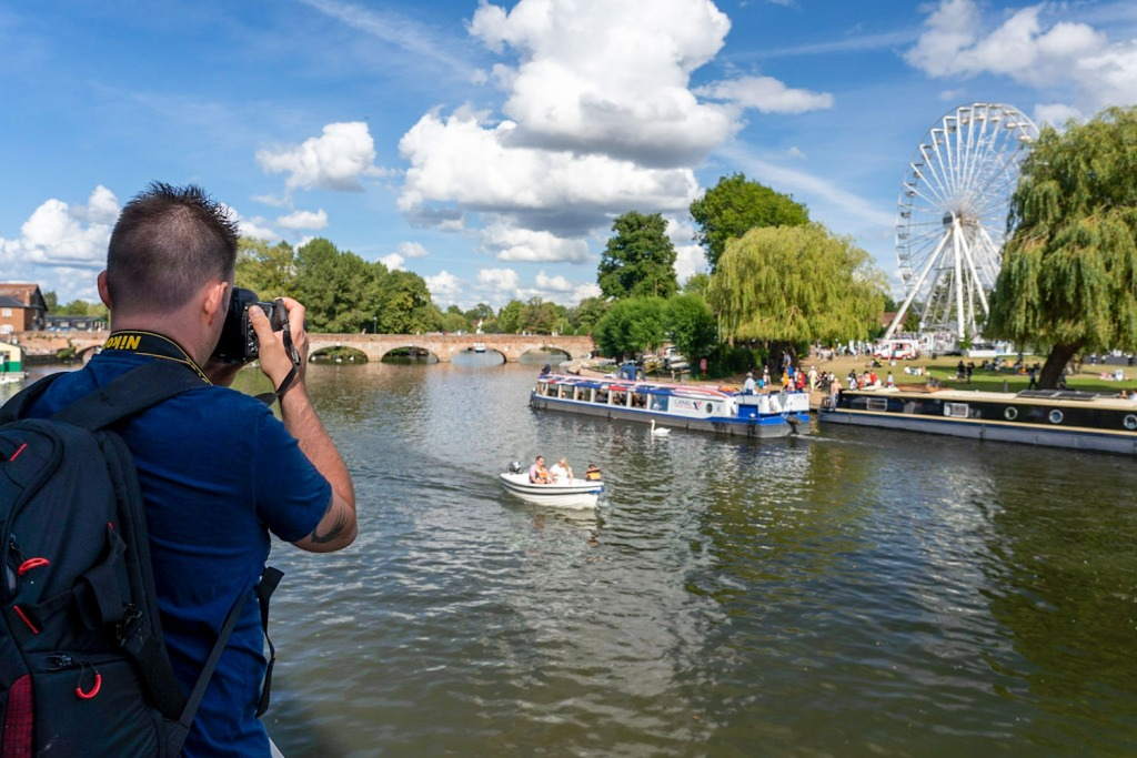 Big Ferris Wheel and boats on the River in Stratford Upon Avon, Warwickshire