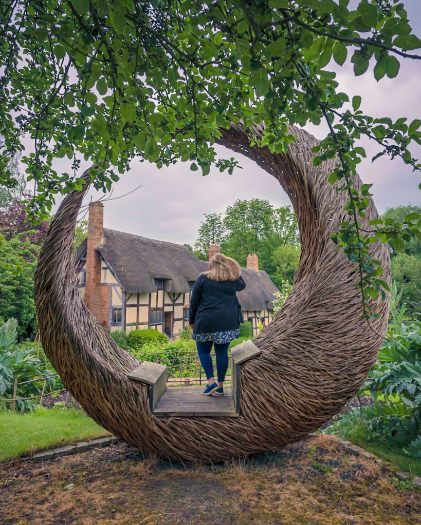 The Moon Seat, which is a giant willow crescent moon at Shakespeares wife's house